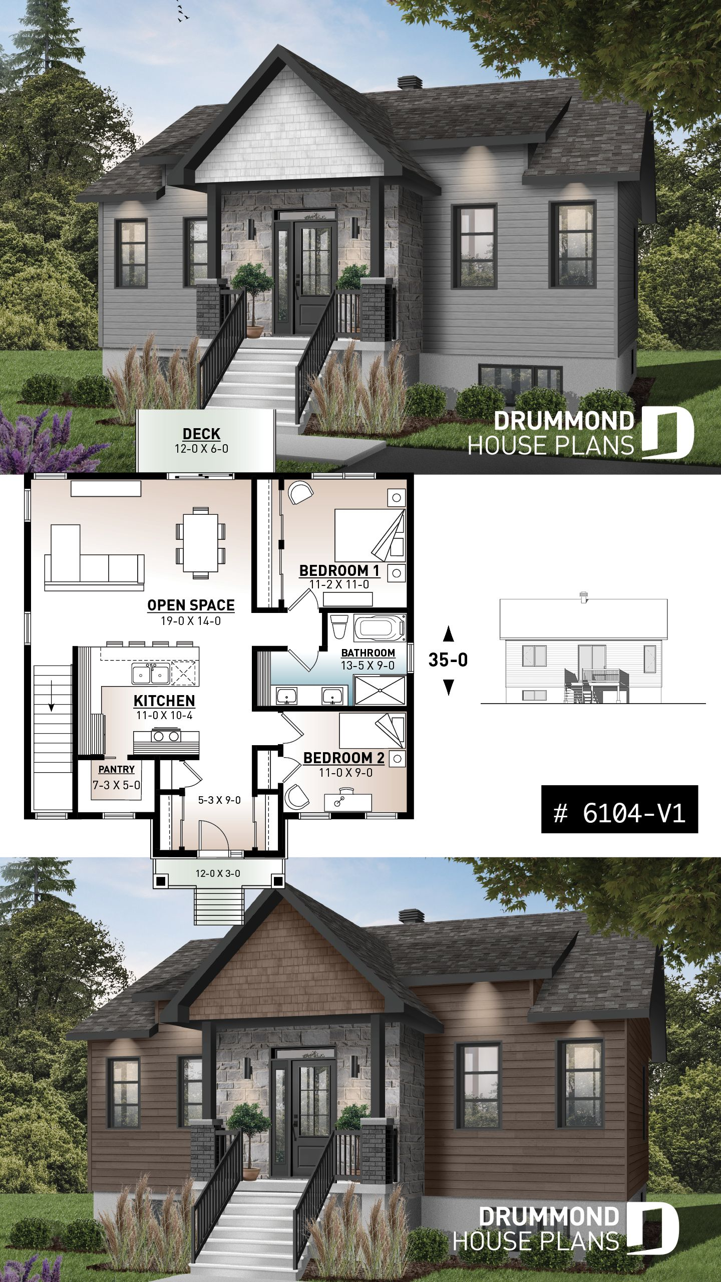 Discover The Plan 6104 V1 Chai 2 Which Will Please You For Its 2 Bedrooms And For Its Craftsman Northwest Styles Ranch Style House Plans Ranch Style Homes Craftsman House Plans