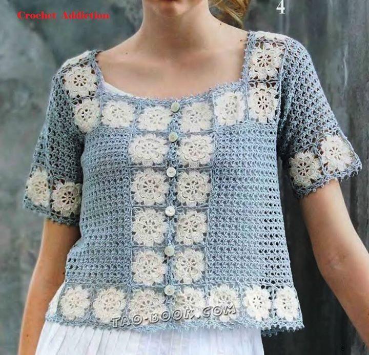 Pin de mirna olan en crochet blusas | Pinterest | Blusa del ...