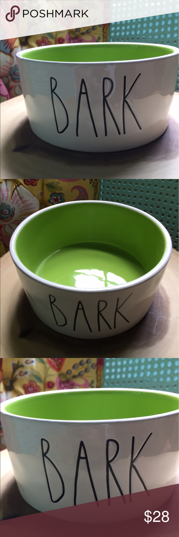 Rae Dunn Bark Bowl Lime Green Big Letter Rae Dunn Bark Bowl Big Letter, new  Pet, People Bowl Large Rae Dunn Other