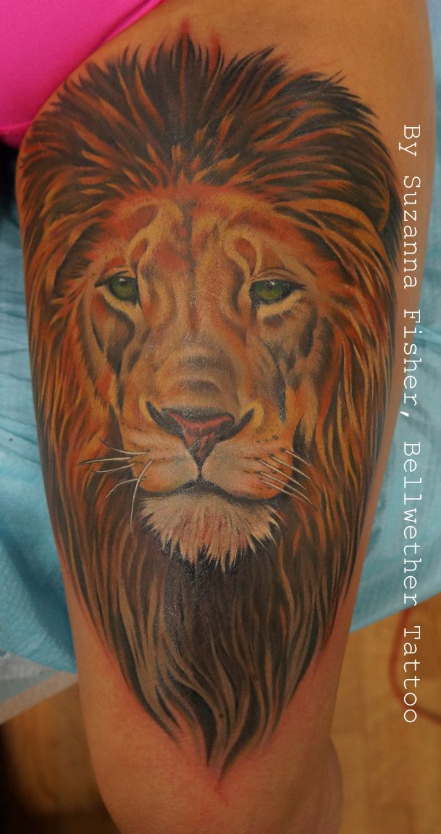 Color Lion Portrait Tattoo On A Thigh By Suzanna Fisher Of Bellwether Tattoo In Seattle Washington Tattoos Home Tattoo Animal Tattoo