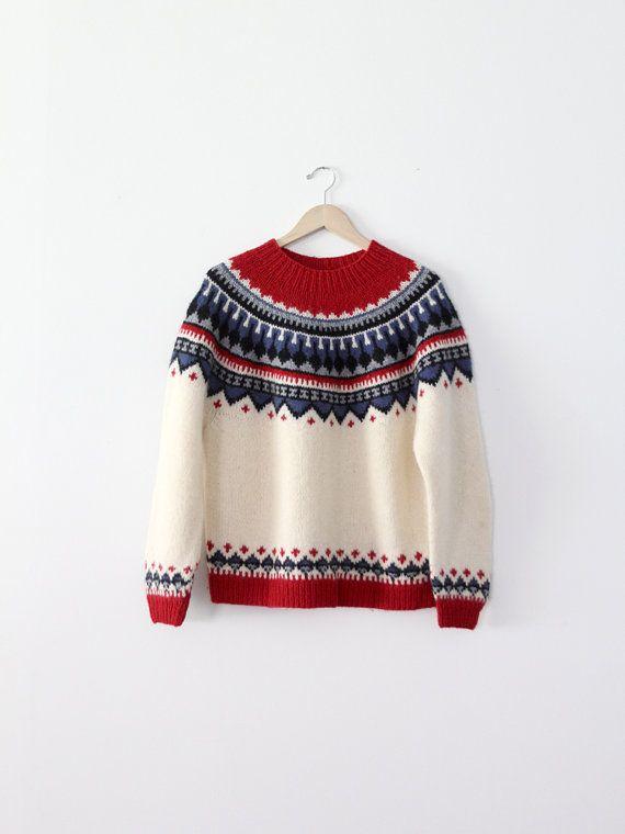 Vintage fair isle sweater / folk sweater / nordic sweater | Tejido ...