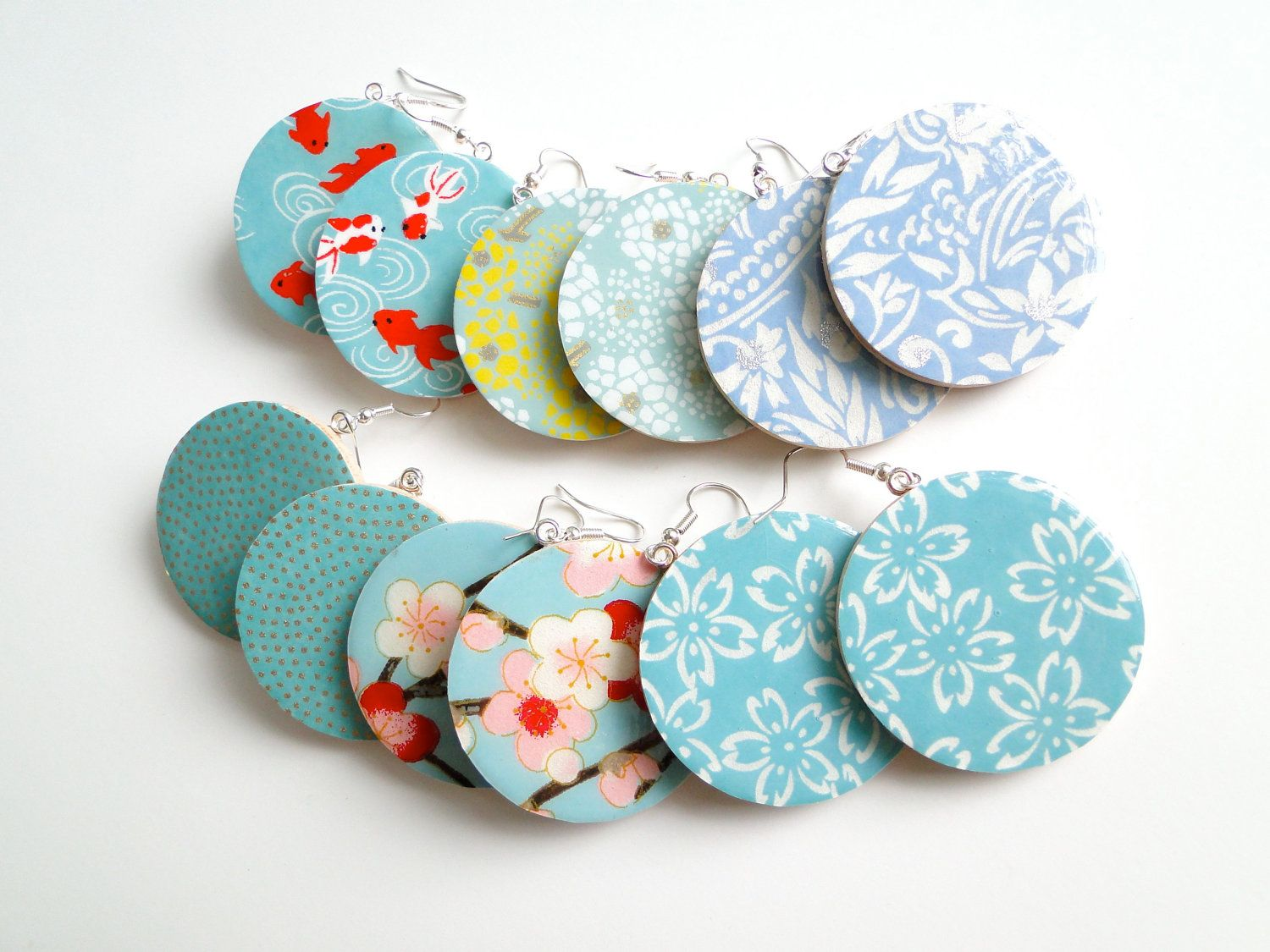 Turquoise Earrings, Blue Japanese Paper Earrings, Chiyogami, Washi,  Origami, Bridesmaids, Large Dangles, Made To Order, Gift Under 20