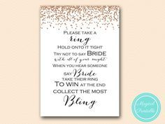 Rose Gold Confetti Bridal Shower Games  dont-say-bride-ring-8x10