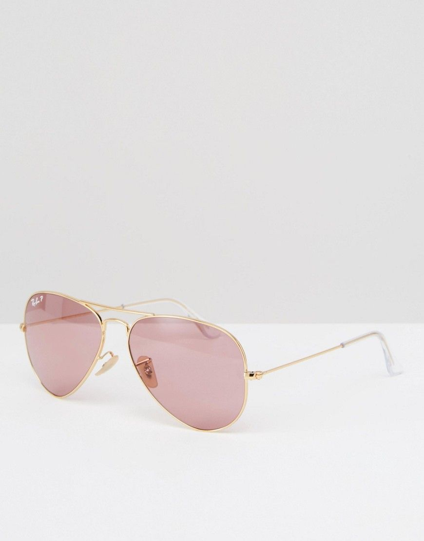 ce69de15a670ef Ray-Ban Polarised Lens Metal Aviator in Pink   Belleza   Pinterest ...