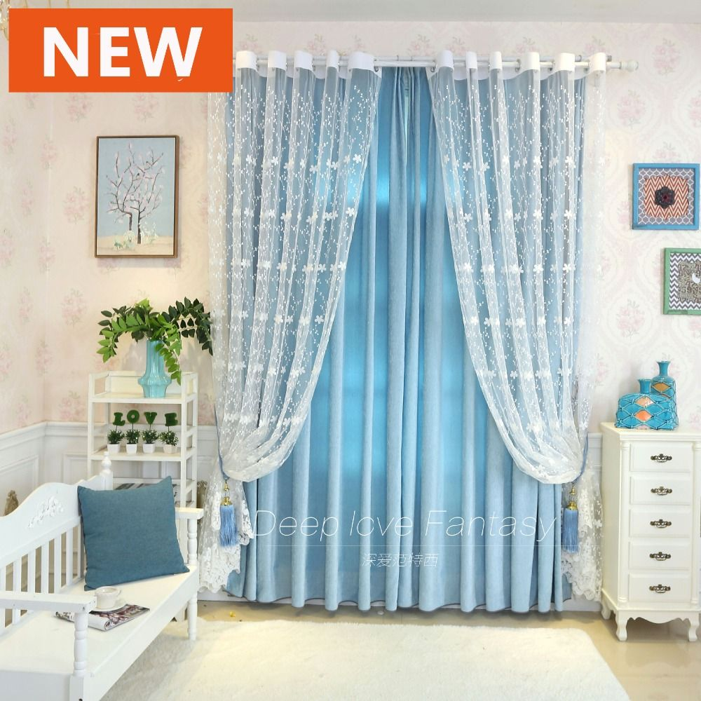 2016 Hot style Small Fresh Girl Houses Embroidered Voile Curtains ...