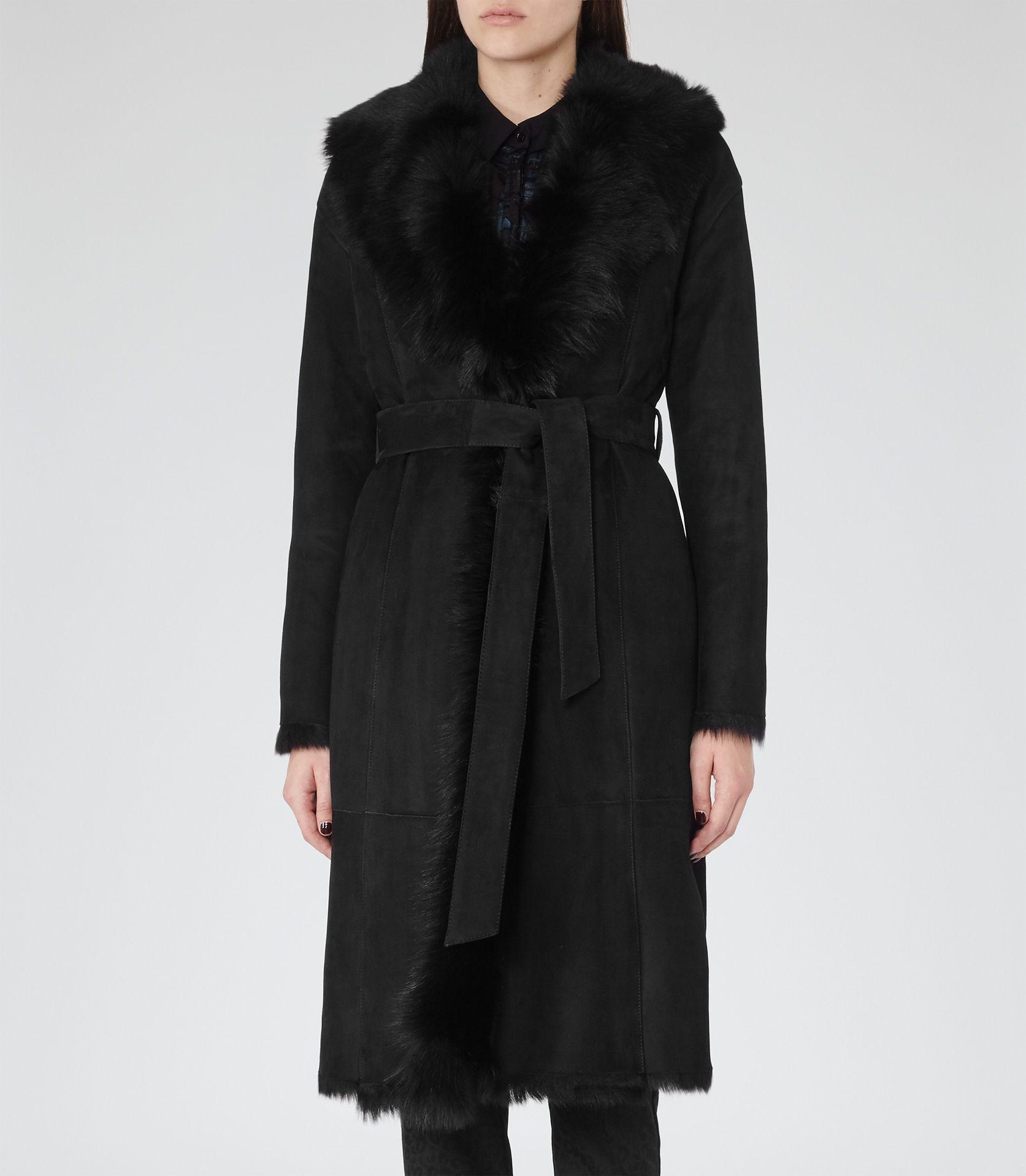 Womens Black Shearling Wrap Coat - Reiss Biba   Fashion ...