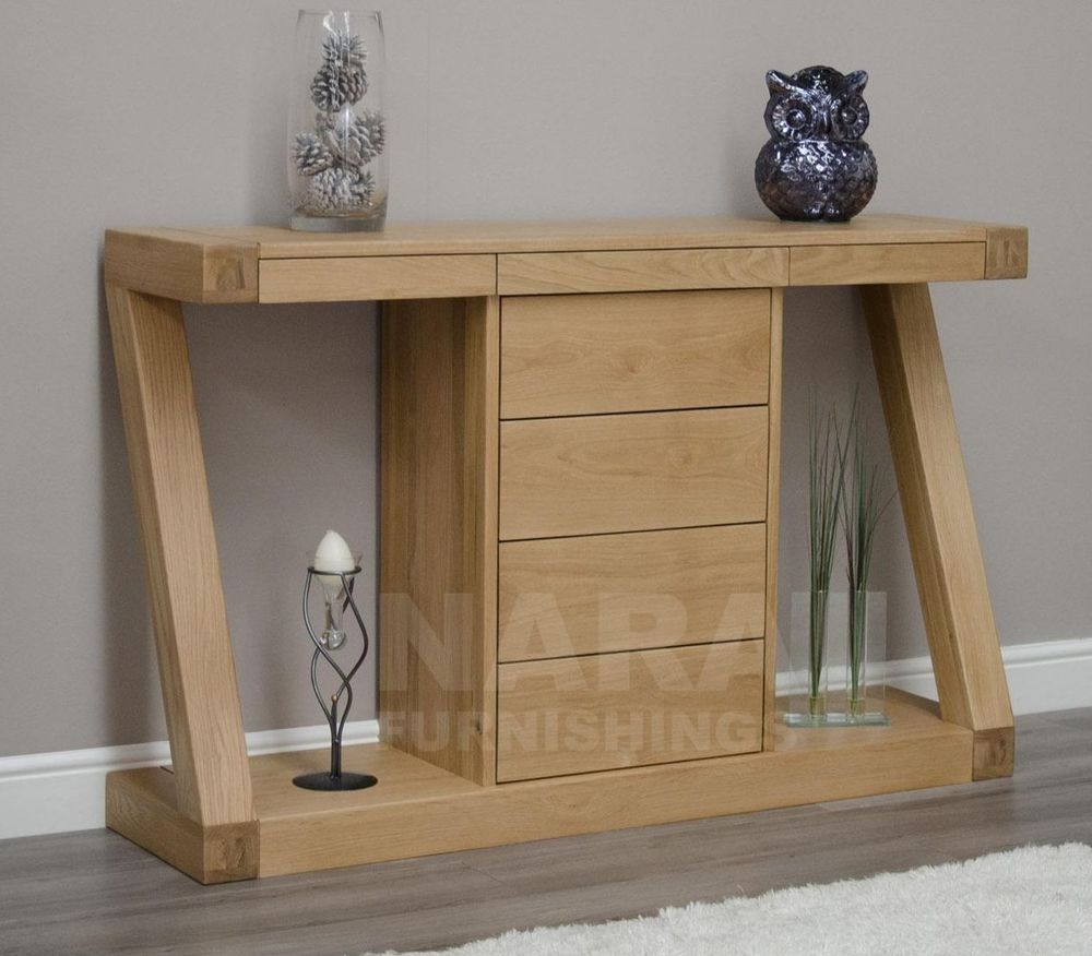 Zaria Solid Oak Designer Furniture Hall Console Hallway Table With