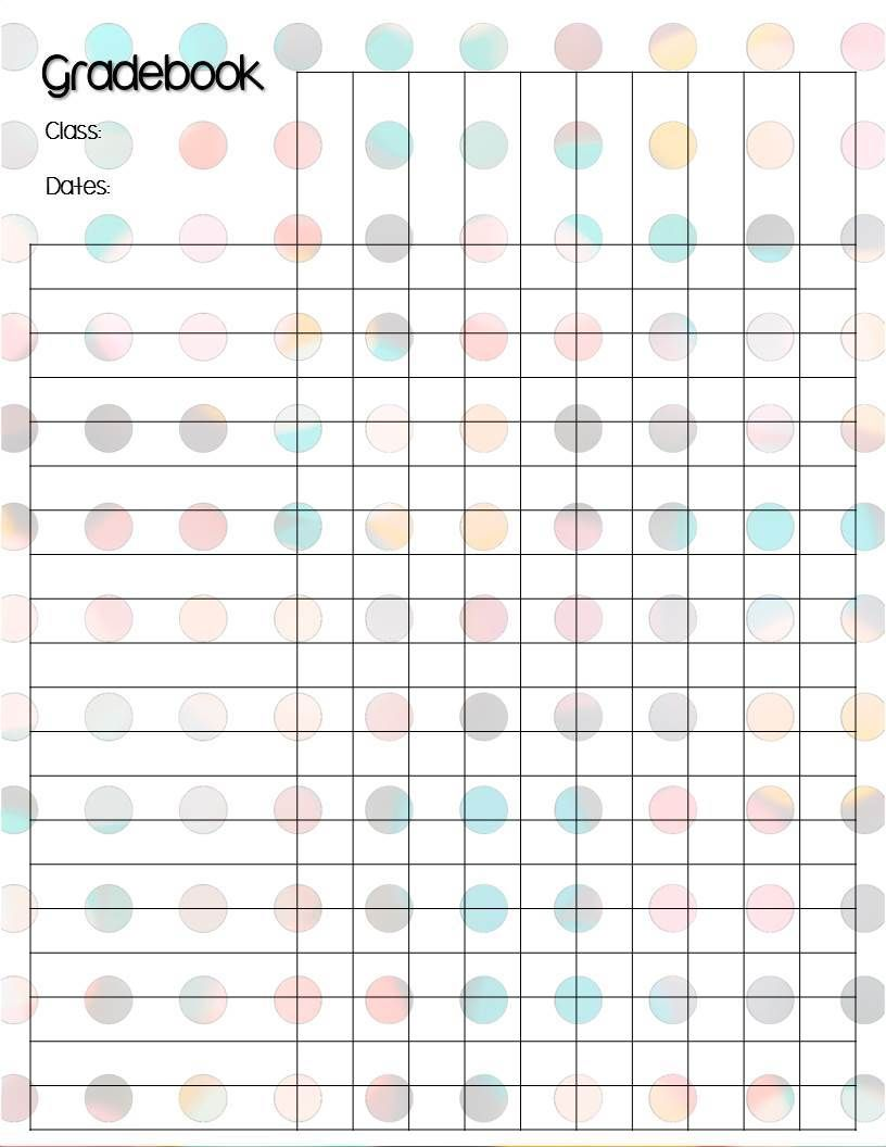 Polka Dot Gradebook Template With  Polka Bokeh Styles  School