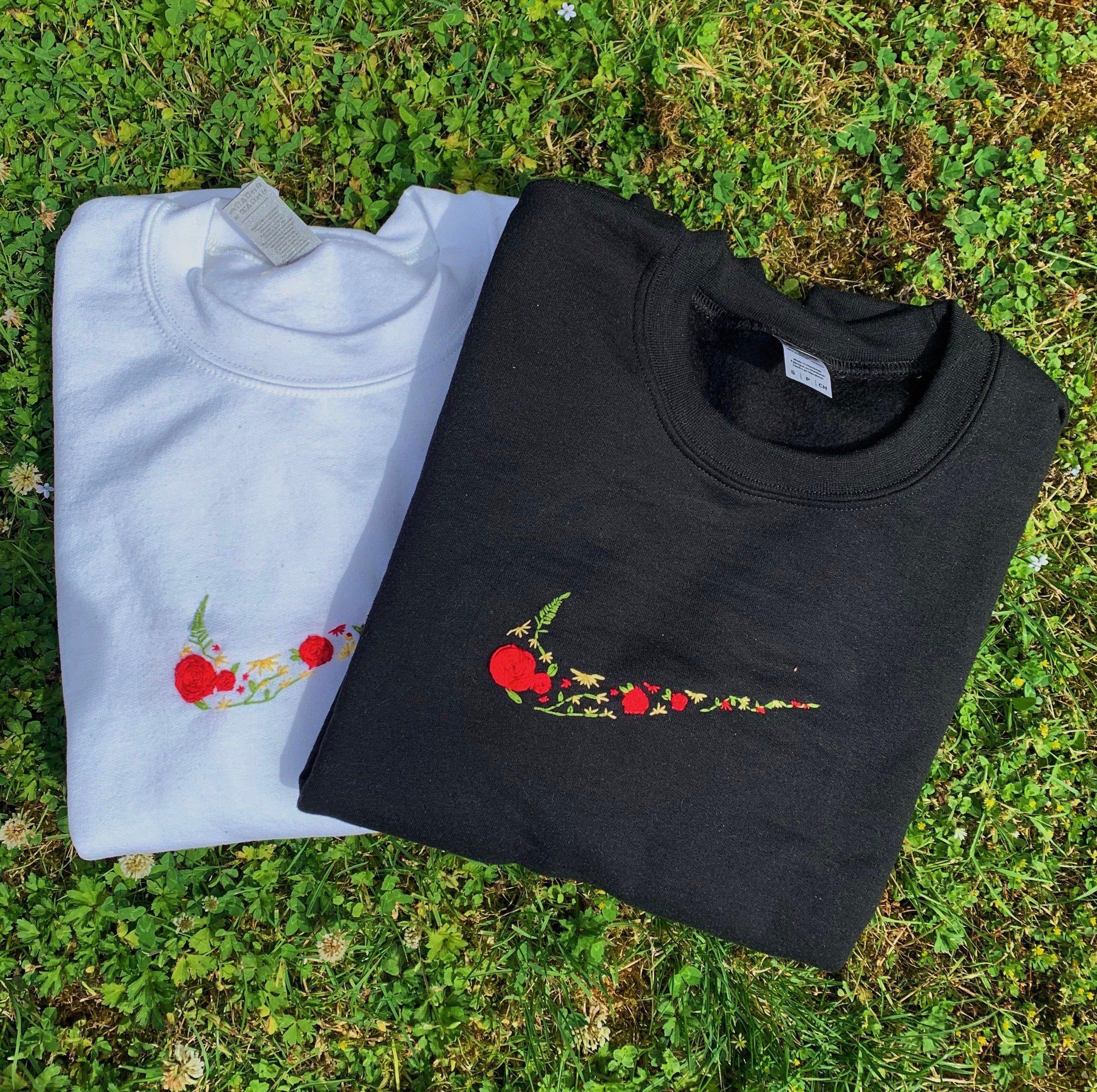 Custom Nike Embroidered Sweatshirt By Boardwalkembroidery On Etsy In 2021 Embroidered Sweatshirts Embroidery Hoodie Sweatshirts [ 2591 x 2604 Pixel ]
