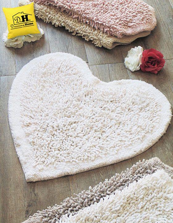 Tappeto bagno a forma di cuore Shabby Style in colore bianco