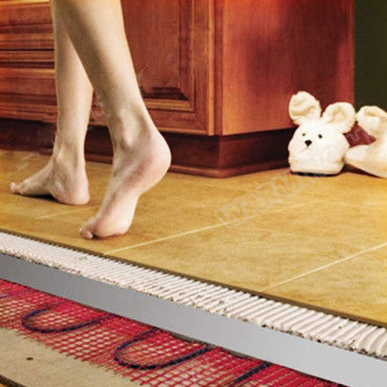 Electric Tile Radiant Warm Floor Heat Heated Kit Mat W// Thermostat Alarmer