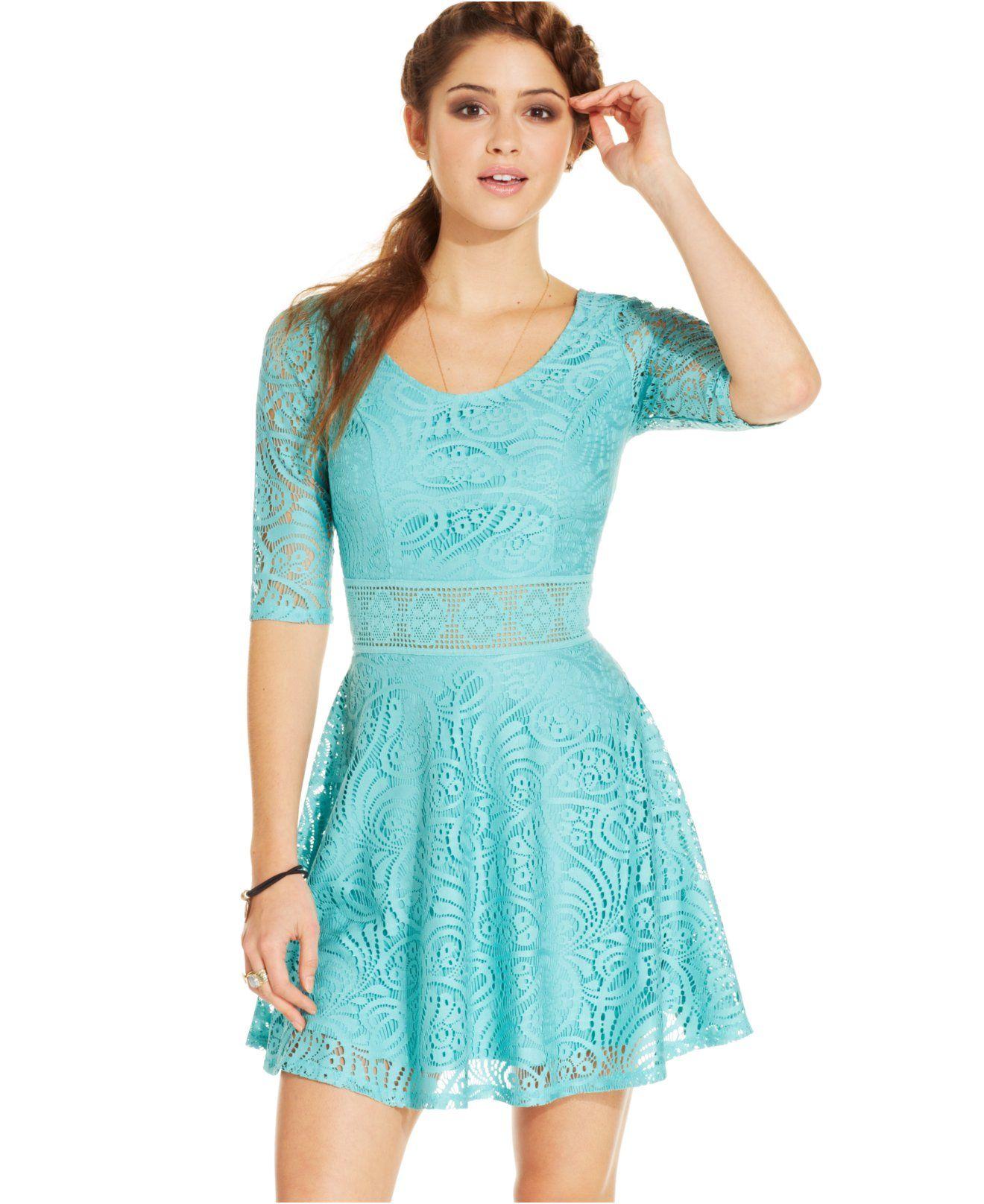 American Rag Lace Skater Dress - Juniors American Rag - Macy\'s ...