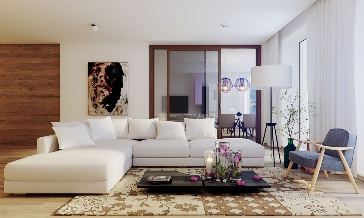 The large white sectional sofa in the living room with black unique