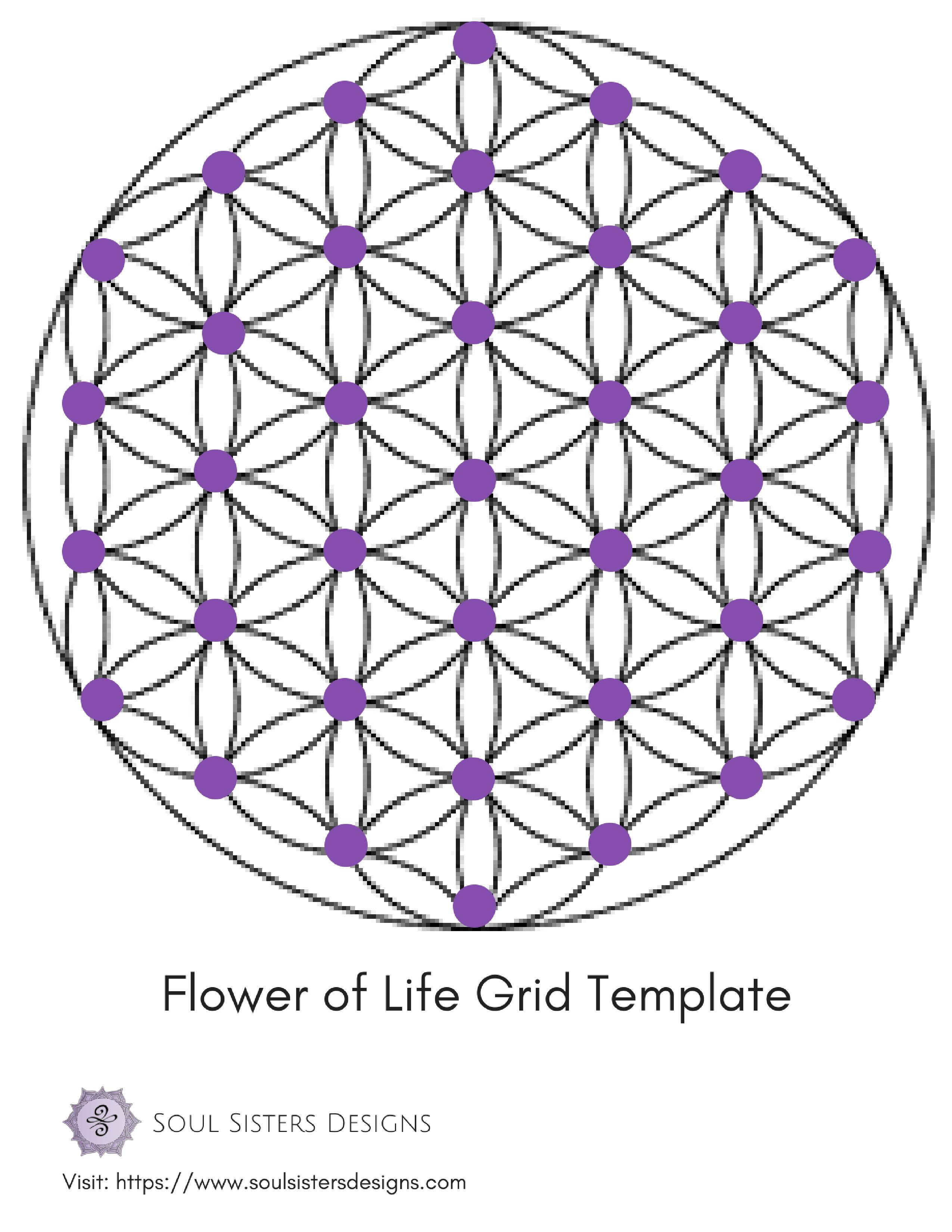 picture relating to Printable Crystal Grid identify Flower Of Lifetime Grid Template -