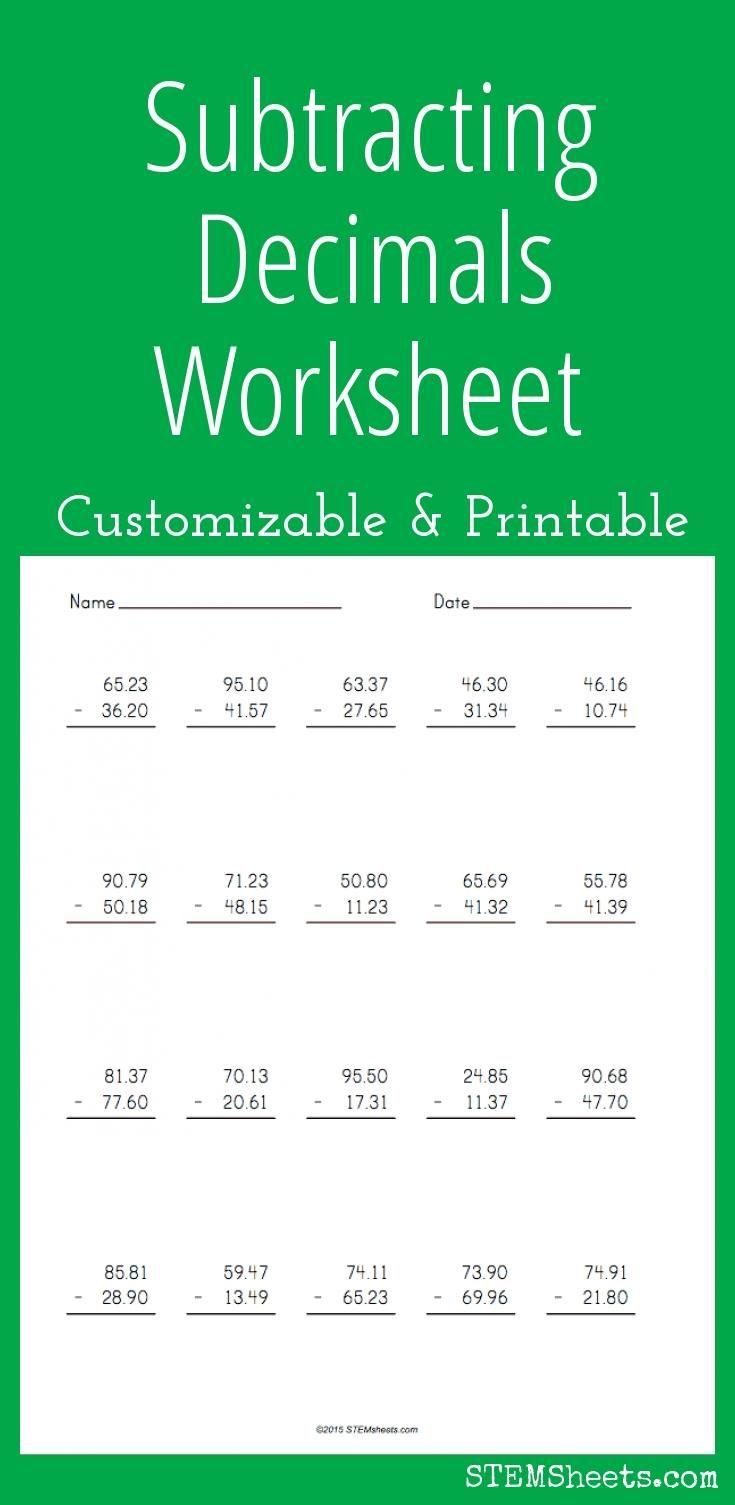 Subtracting Decimals Worksheet Multiplying Decimals Worksheets Decimals Worksheets Printable Multiplication Worksheets