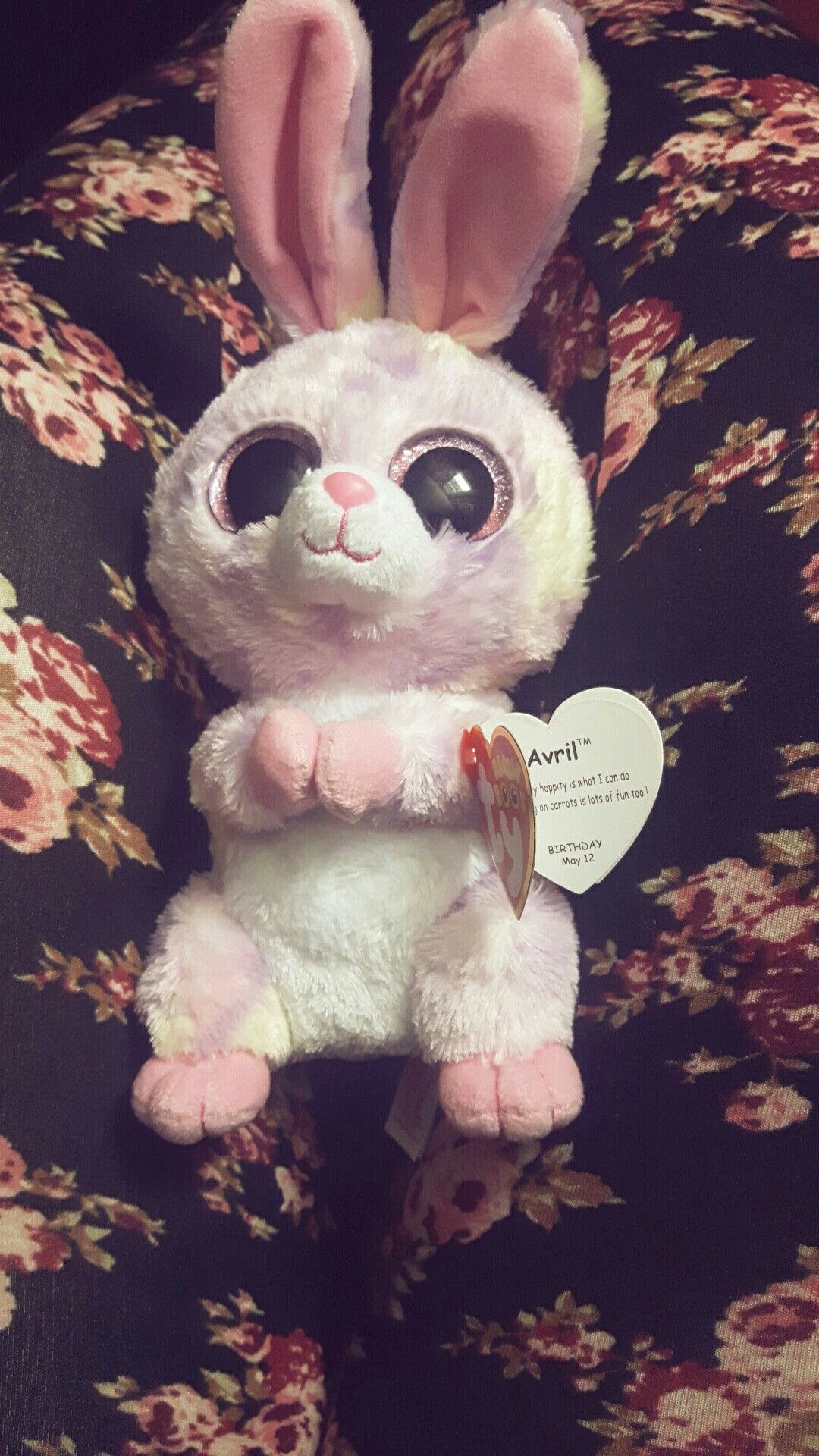 5cc9a54c0d7 New beanie boos April Going hippity hoppity is what I can do and nibbling  on carrots is lots of fun too! Birthday may 12❤
