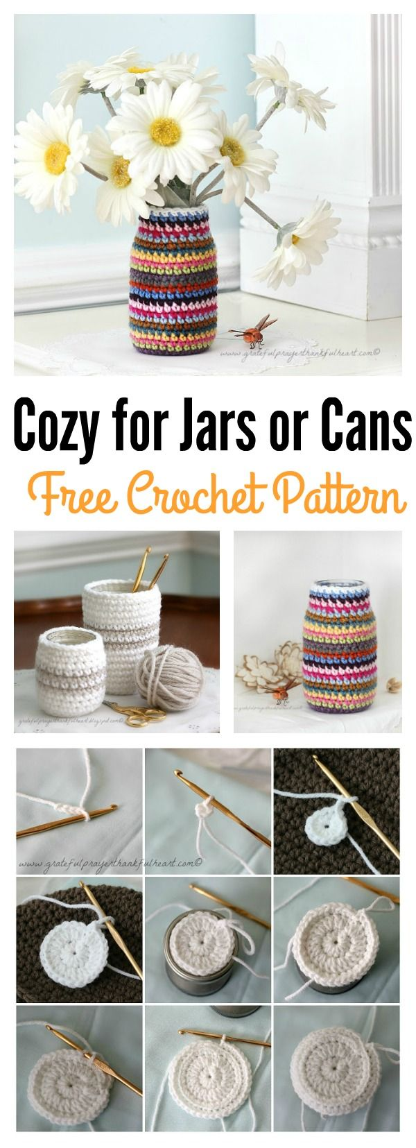 Crochet Cozy Free Pattern for Jars or Cans | Pinterest | Frascos ...