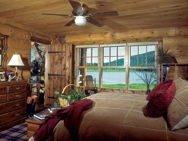 Old Log Cabin Bedroom - Bing images Country Cabins Pinterest