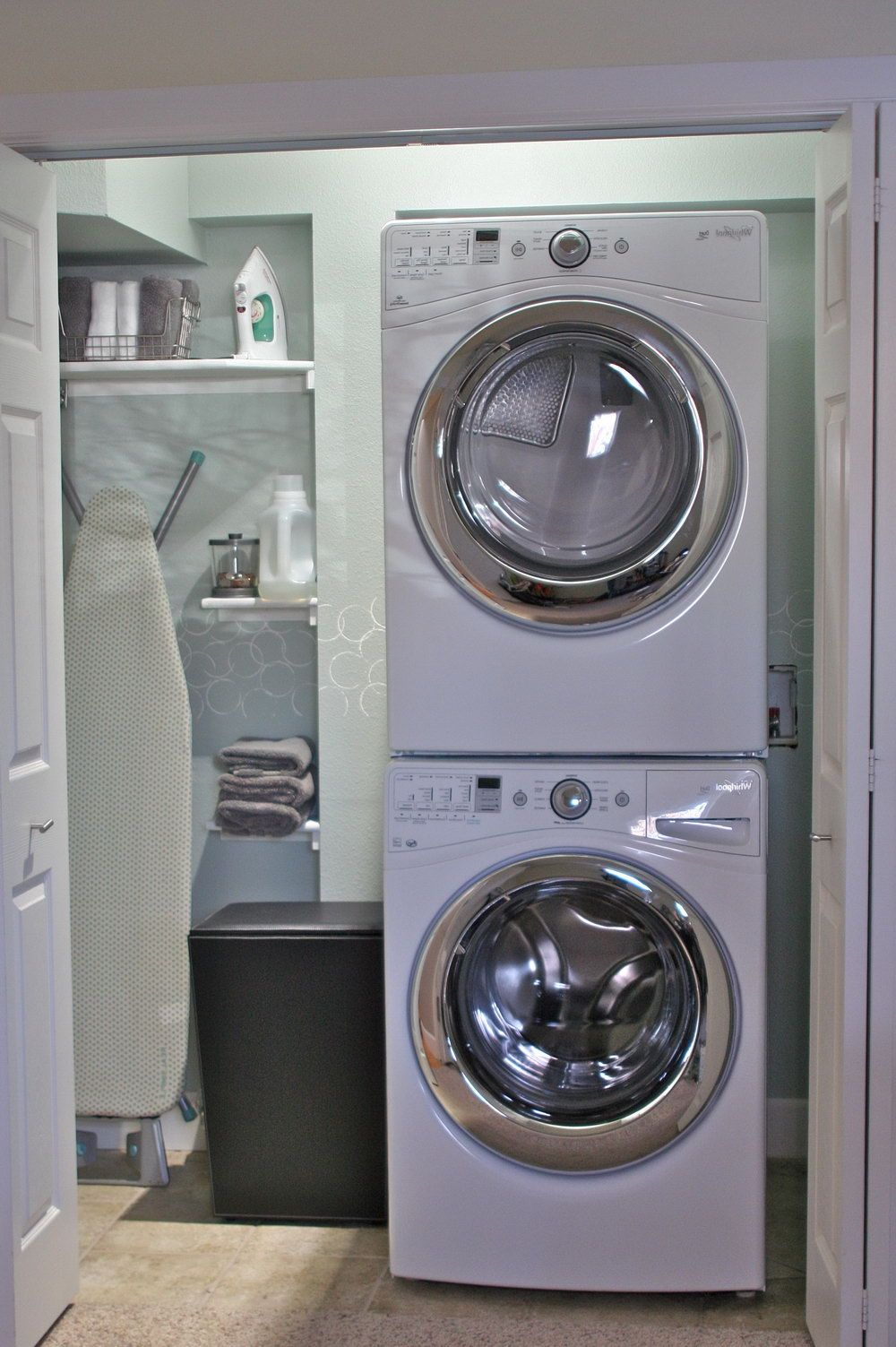 Effective Stackable Washer And Dryer Laundry Room Organization Ideas Excellent Small Closet Design Featuring Machines Space