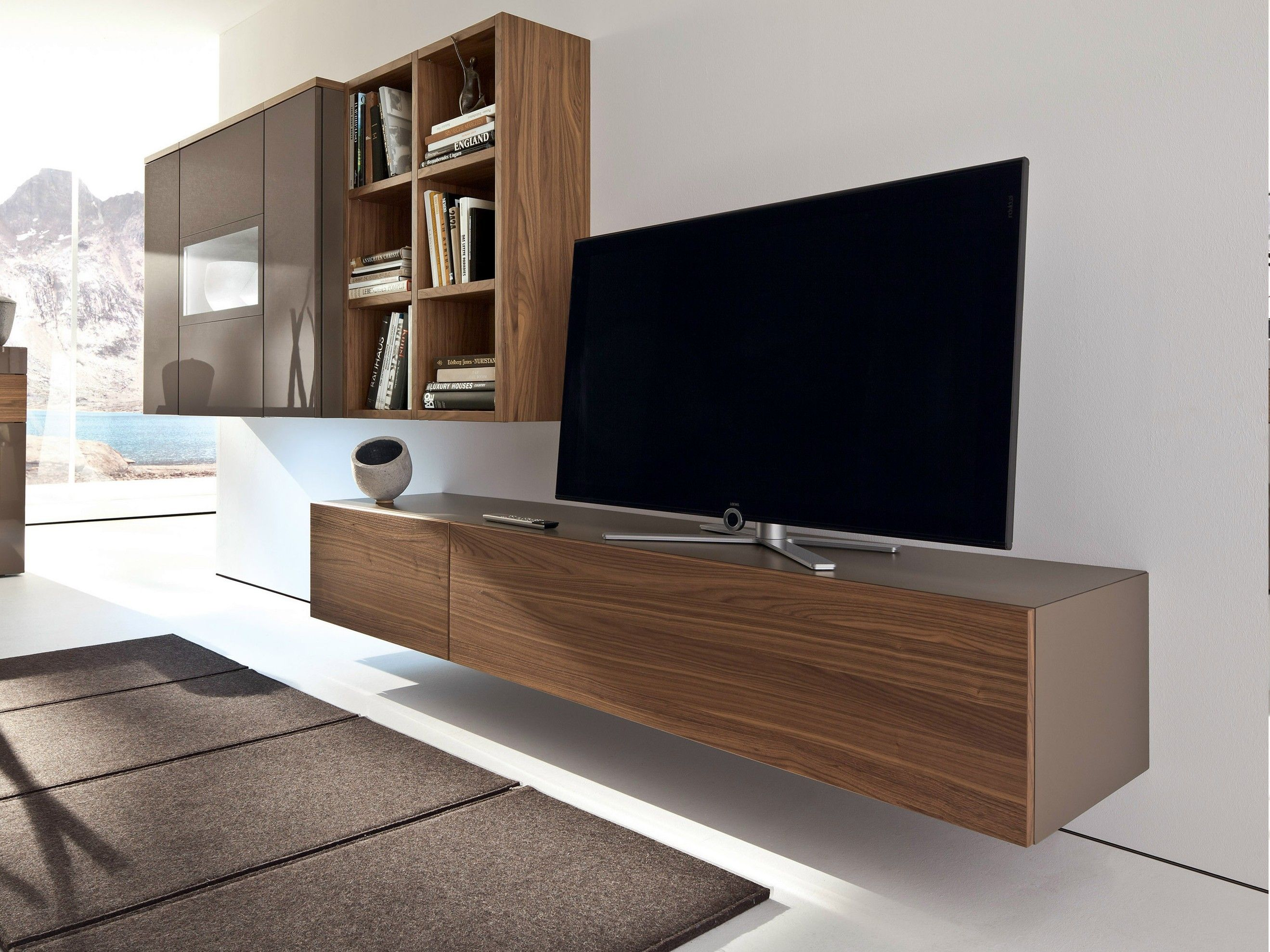 Contemporary Brown Wood Glass Tv Console W Open Shelves Wall