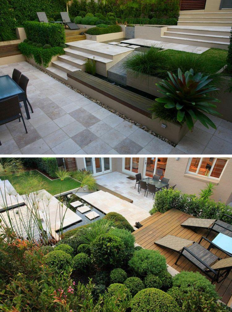terrasse sur terrain en pente marches en pierre bassin deau plantes