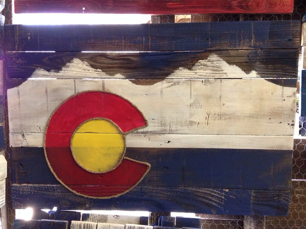 Local reclaimed wooden colorado flag touch of the for Local reclaimed wood