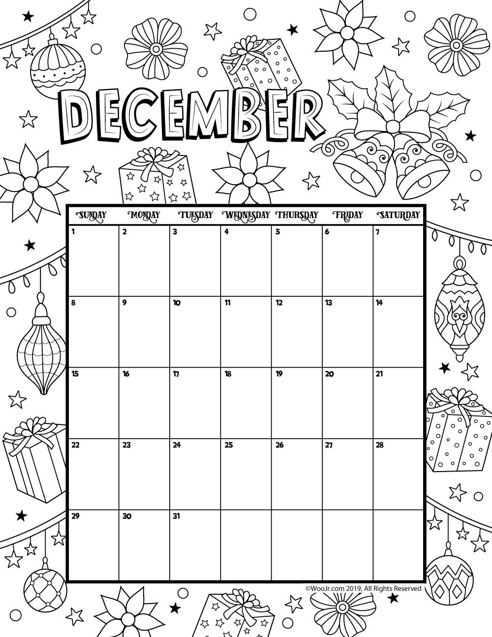 December 2019 Coloring Calendar Kids Calendar Calendar Pages