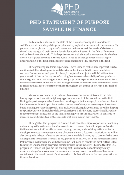Phd Statement Of Purpose Sample In Finance Personal Example Humor Scholarship Essay Examples