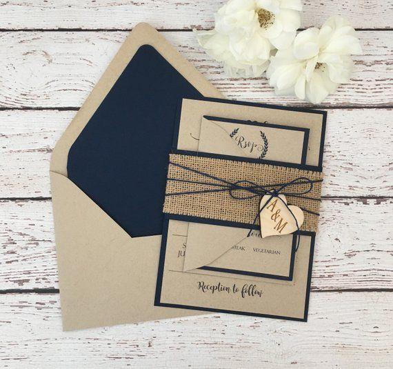 Rustic Wedding Invitation Ideas: Rustic Wedding Invitation, Burlap Wedding Invitation, Navy