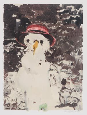 Gail Norfleet, Snowman with Red Straw Hat, 2001, monotype, 13 5/8 x 10 1/8 inches, at Valley House Gallery.