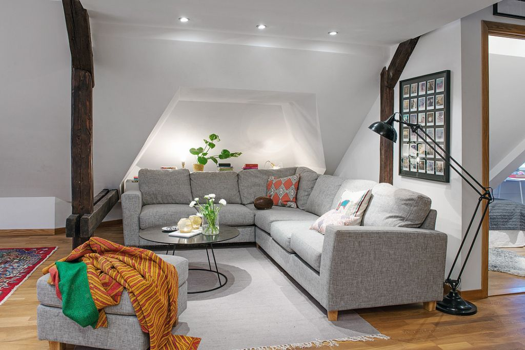 nordic duplex apartment gray l shaped sofa back lit wall middle rh pinterest com