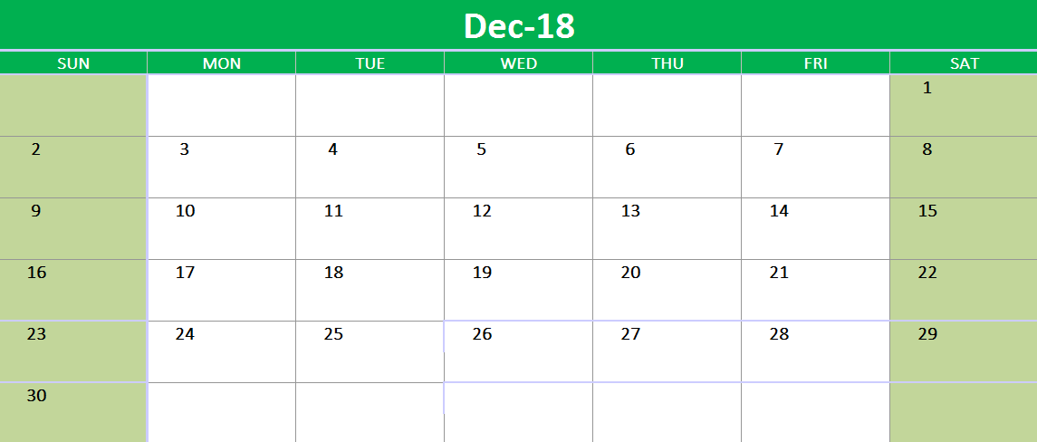 December 2018 Google Sheet Calendar Template December 2018