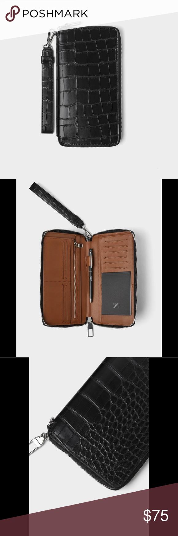 bce1e420 Zara XL black croc embossed wallet SPRING/SUMMER '19 Collection ...