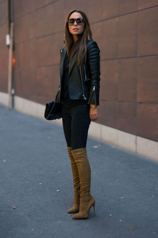 72b9426fa6 Just a Pretty Style  Street style camel boots and leather coat ...