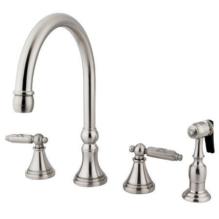 Governor Double Handle Deck Mount Kitchen Faucet with Side Spray