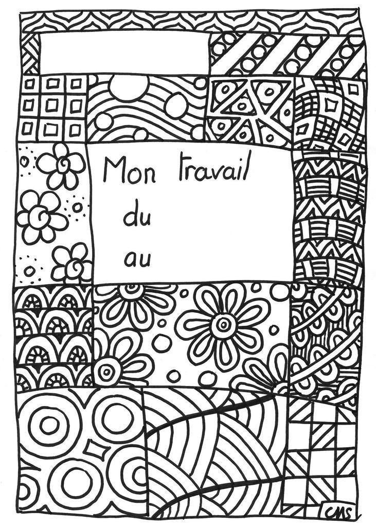 Coloriage page de garde page de garde cahier et collant - Coloriage travail ...