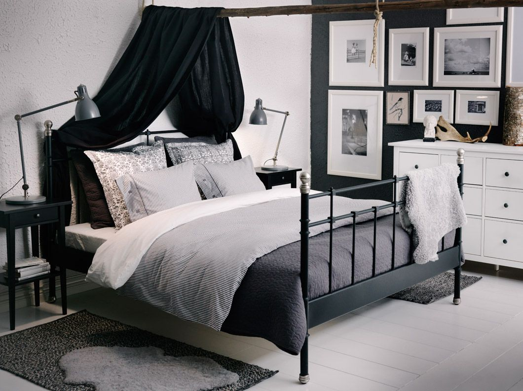 svelvik black bed with hemnes bedside tables and alina dark grey