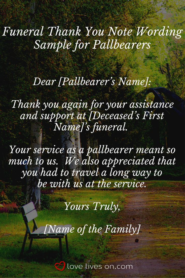 click for more funeral thank you note samples for pallbearers pastors flowers food money donation coworkers and bereavement support