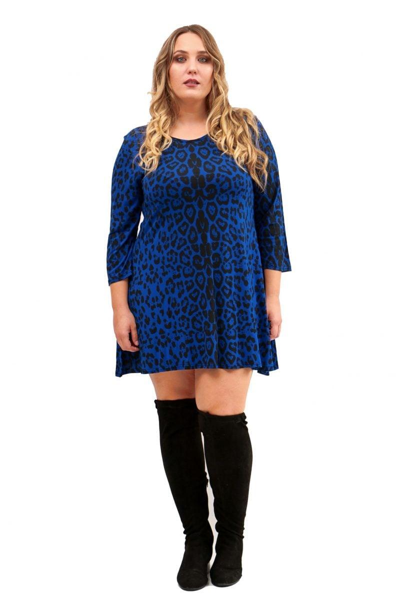 Vestido Print Azul Corazon Xl Tallas Grandes En 2020 Vestidos Moda