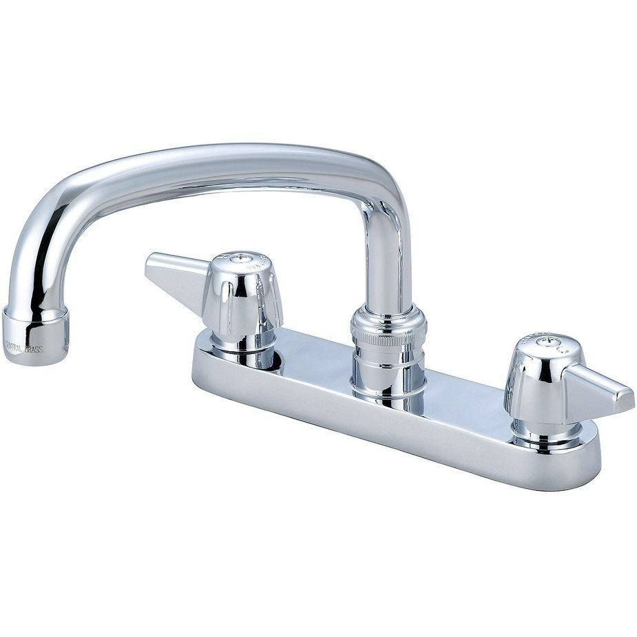 Central Brass Two Handle Cast Brass Kitchen Faucet 8 Tube Swivel Spout Chrome Chrome Grey Brass Kitchen Faucet Faucet Brass Kitchen