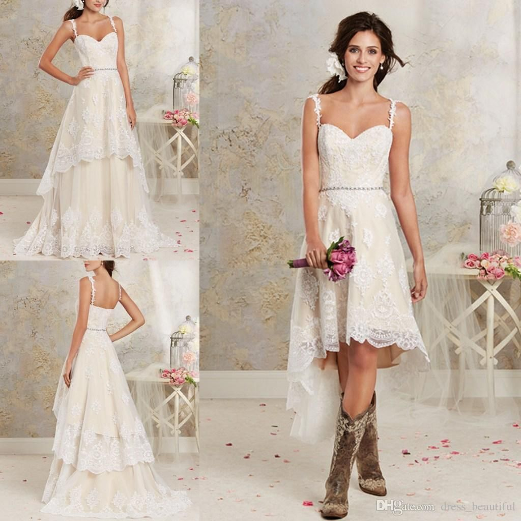 Cheap Two Styles Lace Country Wedding Dresses High Low Short Bridal ...