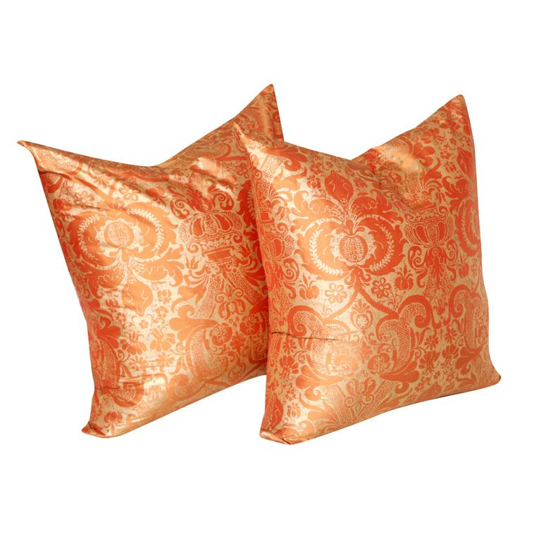 Gorgeous Pair of Hand printed Italian Silk Orange and Gold Pillows