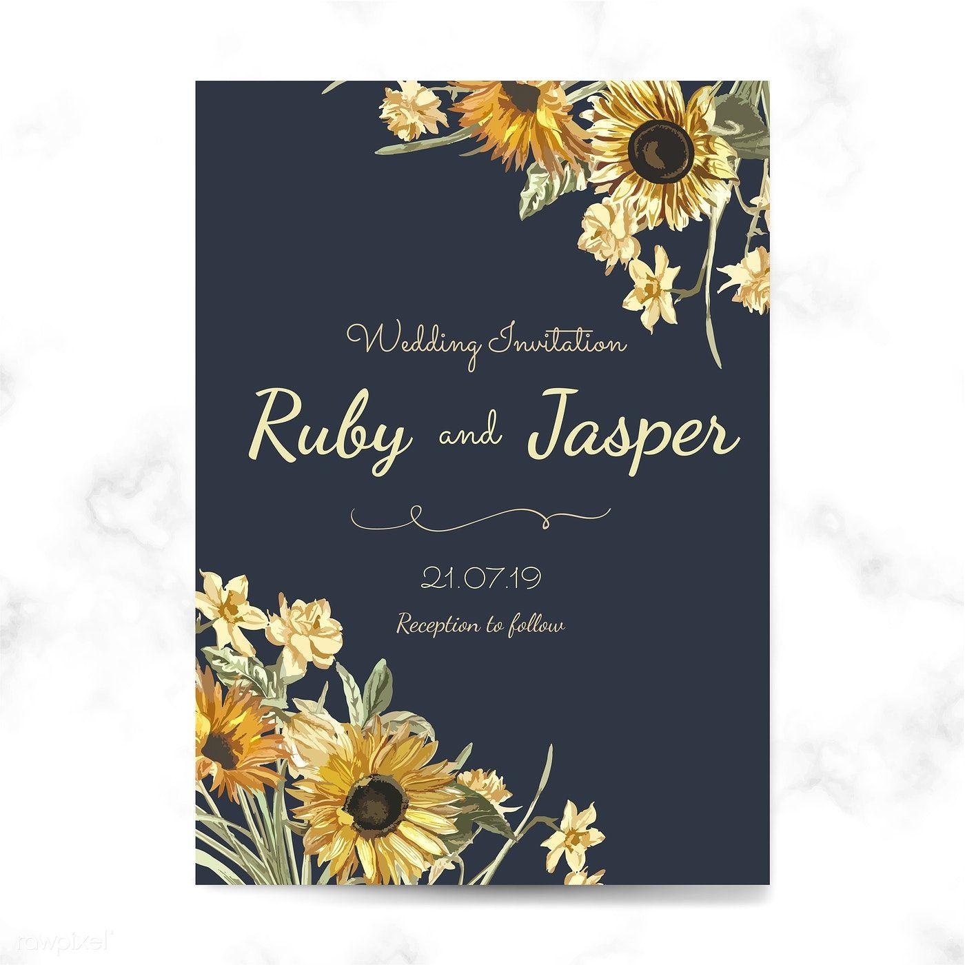 Wedding invitation card mockup vector free image by
