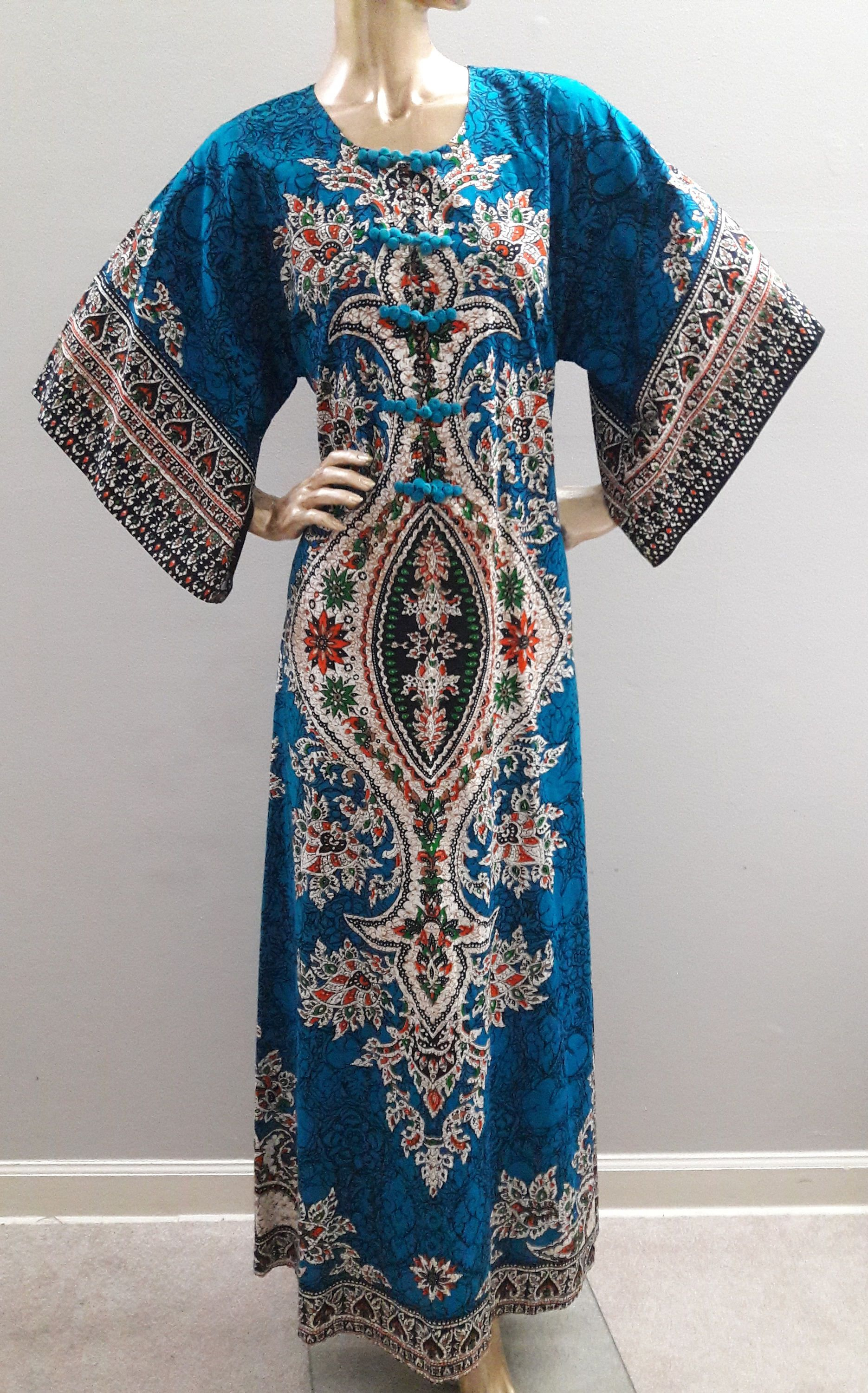 Vintage Batik Maxi Dress Size M Blue Cotton Multi Color Java Print