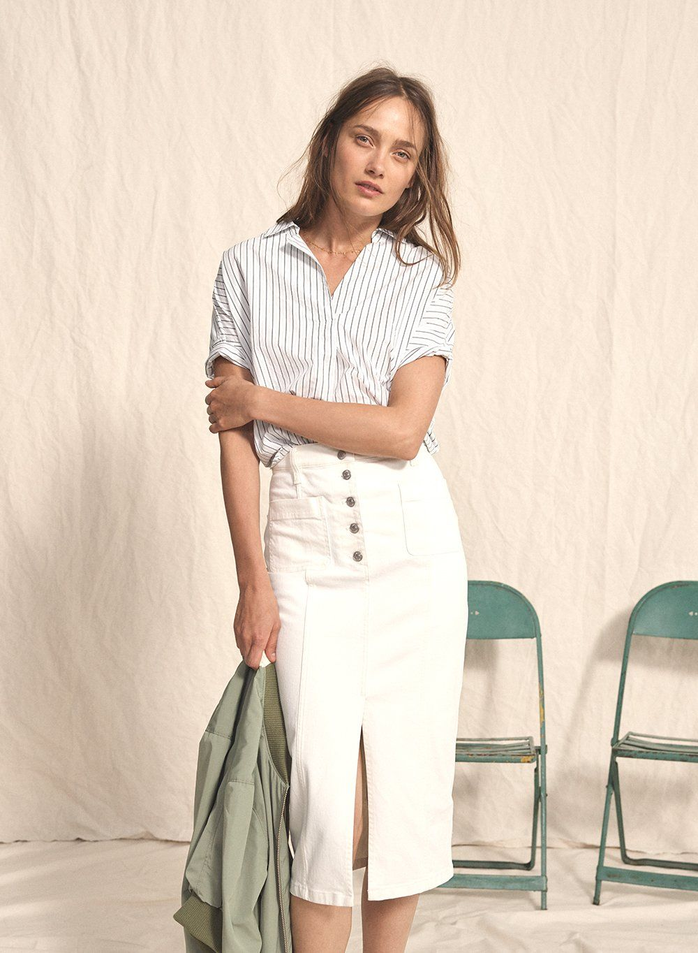 96e9a7b52de madewell white high-slit jean skirt worn with courier button-back shirt