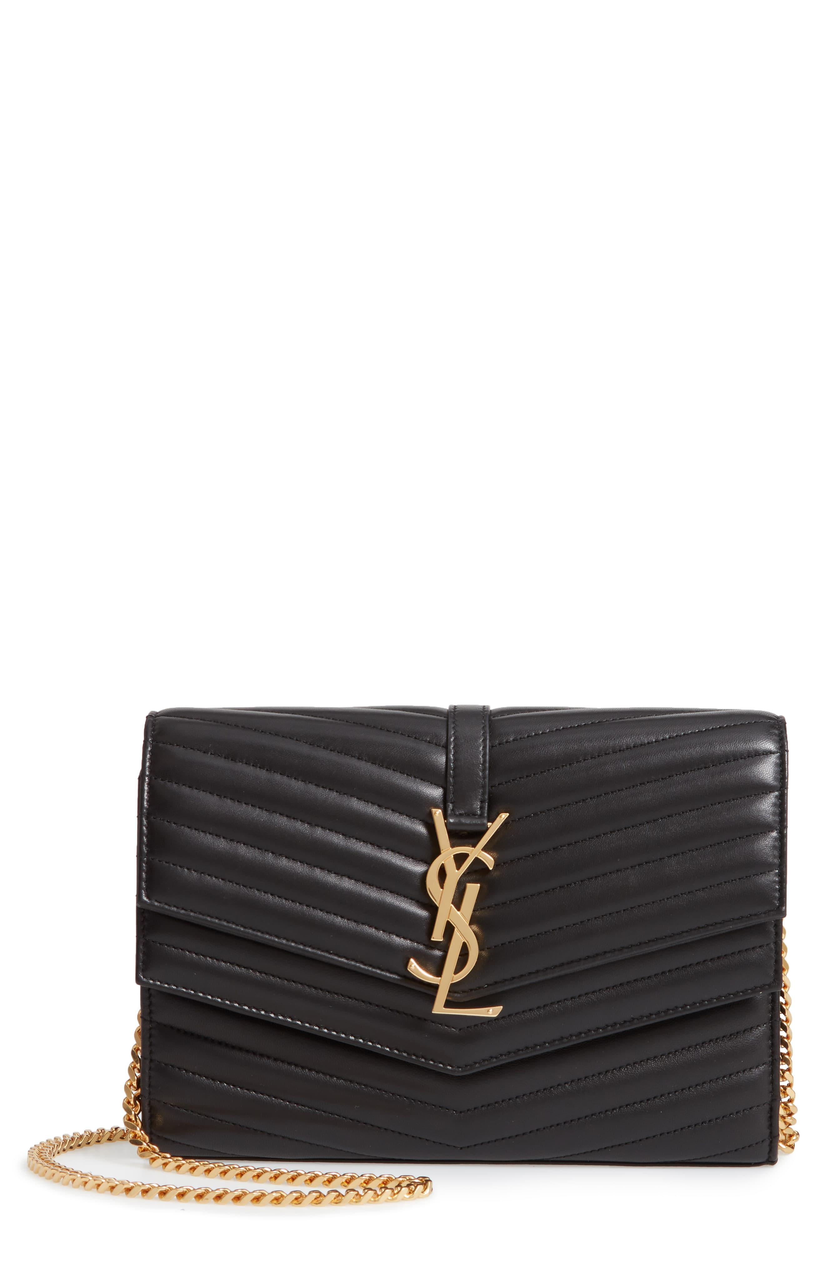 8c9175e27e6 Women's Saint Laurent Sulpice Leather Crossbody Wallet - Black in ...