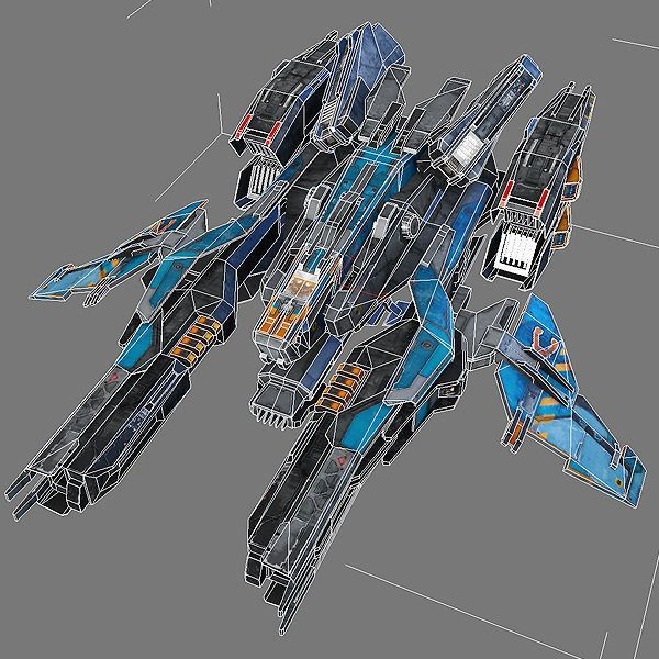 SciFi Fighter X2 3D Model Game Ready .max