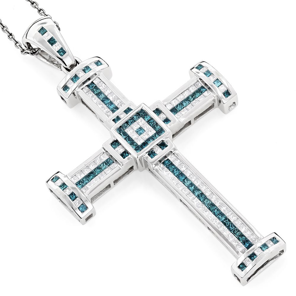 This luxurious white and blue diamond cross pendant for men in 14k cross necklace for men silver gold diamond cross pendants for men itshot mozeypictures Choice Image