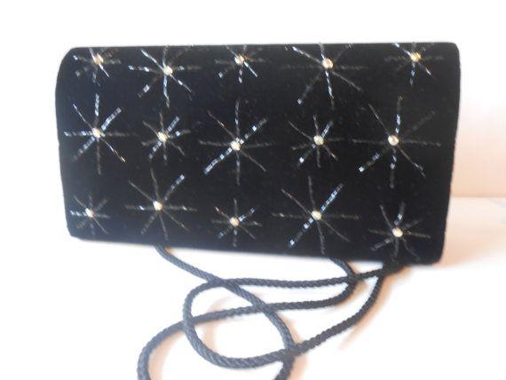Vintage Evening Bag, Black Velvet Purse, Beaded Handbag, Rhinestone Starburst, Sparkly Handbag EB-0454