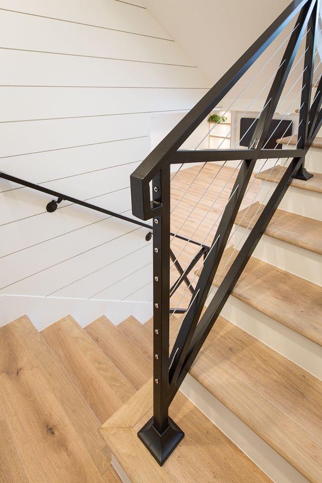 Farmhouse stair with black steel cross railing, steel ...